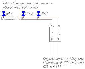 Структурная схема аварийного освещения 1го типа